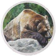 Round Beach Towel featuring the painting A Bear Of A Prayer by Lori Brackett