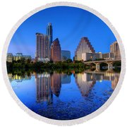 Round Beach Towel featuring the photograph A Beautiful Austin Evening by Dave Files