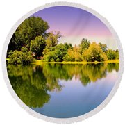 A Beautiful Day Reflected Round Beach Towel