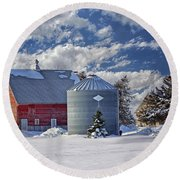 A Beautiful Winter Day Round Beach Towel