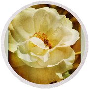 A Bee And Rose Round Beach Towel