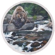 Round Beach Towel featuring the painting A Berry For Your Thoughts by Lori Brackett