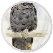 A Black Cockatoo Round Beach Towel by Henry Stacey Marks