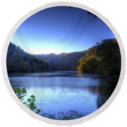 Round Beach Towel featuring the photograph A Blue Lake In The Woods by Jonny D