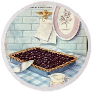 A Blueberry Tart Round Beach Towel
