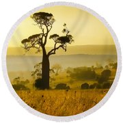 A Boab Sunrise Round Beach Towel