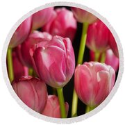 A Bouquet Of Pink Tulips Round Beach Towel