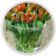 A Bouquet Of Tulips Round Beach Towel by Dragica  Micki Fortuna