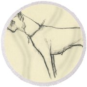A Boxer Dog Round Beach Towel