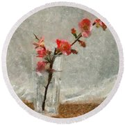 Round Beach Towel featuring the painting A Branch Of Japonica by Dragica  Micki Fortuna