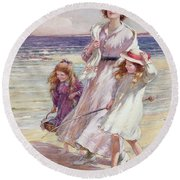 A Breezy Day At The Seaside Round Beach Towel