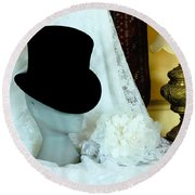 A Bridal Scene Round Beach Towel by Terri Waters