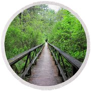 A Bridge To Somewhere Round Beach Towel by MTBobbins Photography