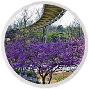 Round Beach Towel featuring the photograph A Bridge To Spring by Larry Bishop