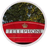 A British Phone Box Round Beach Towel