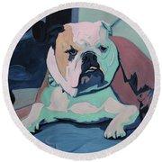 A Bulldog In Love Round Beach Towel