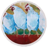 A Bunch Of Old Clucking Hens Round Beach Towel