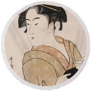 A Bust Portrait Of The Waitress Okita Of The Naniwaya Teahouse Round Beach Towel