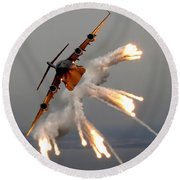 A C-17 Globemaster IIi Releases Flares Round Beach Towel