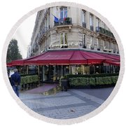 A Cafe On The Champs Elysees In Paris France Round Beach Towel