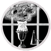 Round Beach Towel featuring the digital art A Candle Snuffed by Carol Jacobs