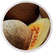 A Cantaloupe Sliced In Half Round Beach Towel