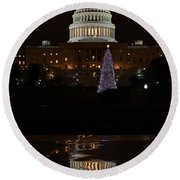 A Capitol Reflection Round Beach Towel