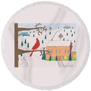 A Cardinal Christmas Round Beach Towel