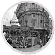 Round Beach Towel featuring the photograph A Carousel by Cendrine Marrouat