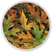 Round Beach Towel featuring the painting A Carpet Of  Falling Leaves by Dragica  Micki Fortuna