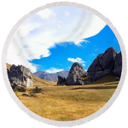 Round Beach Towel featuring the photograph A Castle Hill Walk by Stuart Litoff