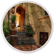 Round Beach Towel featuring the photograph A Charleston Garden by Kathy Baccari