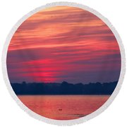 A Chesapeake Bay Sunrise Round Beach Towel