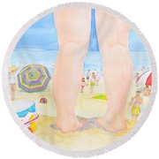 A Child Remembers The Beach Round Beach Towel