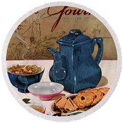 A Chinese Tea Pot With Tea And Cookies Round Beach Towel