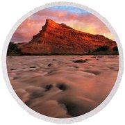 Round Beach Towel featuring the photograph A Chocolate Milk River by Ronda Kimbrow