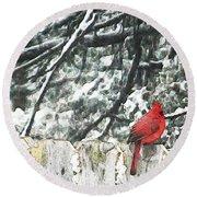 A Christmas Cardinal Round Beach Towel