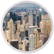 A Cloudy Day In New York City   Round Beach Towel by Lars Lentz
