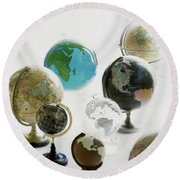 A Collection Of Globes Round Beach Towel