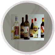 A Collection Of Wine Bottles Round Beach Towel