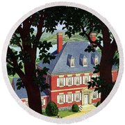 A Colonial Manor House Round Beach Towel