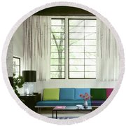 A Colourful Living Room Round Beach Towel
