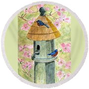 Round Beach Towel featuring the painting A Cottage For Two by Angela Davies