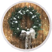 A Country Christmas Round Beach Towel by Benanne Stiens