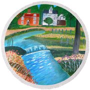 Round Beach Towel featuring the painting A Country Stream by Magdalena Frohnsdorff
