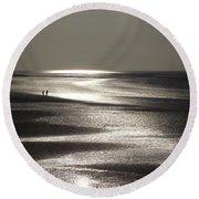 A Couple On A Deserted Beach Round Beach Towel