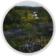 A Creek In Llano County  Round Beach Towel