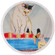 Round Beach Towel featuring the painting A Cup Of Chihuahua by Phyllis Kaltenbach