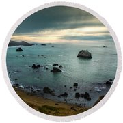 A Dark Day At Sea Round Beach Towel