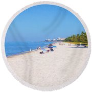 A Day At Naples Beach Round Beach Towel